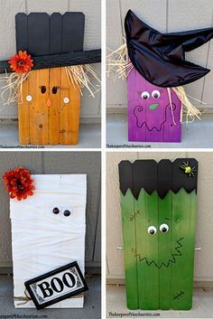 Halloween Pallets Halloween Pallets witch pallet frankie pallet mummy pallet vampire pallet scarecrow pallet DIY Halloween Halloween decorations The post Halloween Pallets appeared first on Pallet Diy. Palette Halloween, Dulceros Halloween, Halloween Wood Crafts, Outdoor Halloween, Diy Halloween Decorations, Holidays Halloween, Holiday Crafts, Diy Halloween Signs, Halloween Makeup