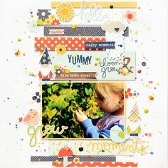 """Today's deal at @peachycheap is a """"Bloom & grow"""" set of 6*6 paper pack, ephemera pack, stickers and enamel dots. All of that for only 8,99$. I created this cute page using only white cardstock and this kit plus a little of mixed media. The great news is that they SHIP INTERNATIONALY🎉🎉🎉 @simplestories_ #bloom&growcollection #peachycheap #peachycheapdailydeals #annakomenda #moriony #skrapowisko #scrapbook #scrapbooking #layout"""