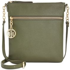 Tommy Hilfiger Sharon Textured North South Crossbody ($98) ❤ liked on Polyvore featuring bags, handbags, shoulder bags, olive, travel shoulder bag, tommy hilfiger handbags, green purse, crossbody travel purse and vertical shoulder bag