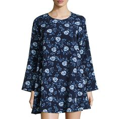 Shop Long-Sleeve Floral-Print Shift Dress, Blue from Lucca Couture at Neiman Marcus Last Call, where you'll save as much as on designer fashions. Floral Tops, Floral Prints, Bell Sleeve Dress, Sleeve Dresses, Blue Dresses, Floral Dresses, Fashion Company, Print Shift, Tunic Tops