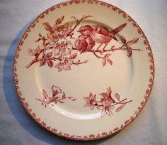 Assiette à dessert FAVORI de Sarreguemines: Oiseaux et Fleurs en rose