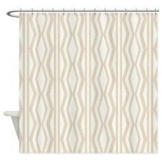 Cream Beige Geometric Pattern Linen Shower Curtain.