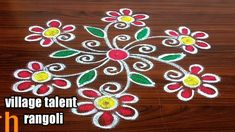 Rangoli Patterns, Rangoli Border Designs, Rangoli Designs Diwali, Rangoli Designs With Dots, Rangoli Designs Images, Beautiful Rangoli Designs, Small Rangoli, Flower Rangoli, Easy Rangoli