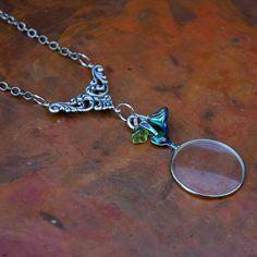 Steampunk Jewelry - Necklace - Vintage Glass Monocle Pendant Necklace. $35.00, via Etsy.