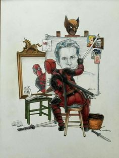 Self Portrait Deadpool paints what he sees in the mirror, it's uncanny…Art by Brandon Harrelson. (After Rockwell) Comic Book Characters, Comic Character, Comic Books Art, Comic Art, Deadpool Art, Deadpool Funny, Deadpool Painting, Deadpool Symbol, Deadpool Quotes