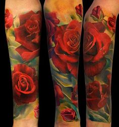 red-rose-floral-sleeve-tattoo1.jpg (635×677)