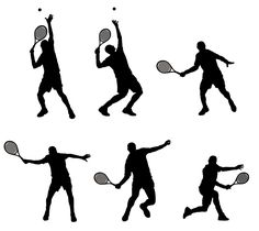 Abstract vector illustration of tennis player silhouette.