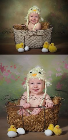 5 Month Old Boy Baby Chick in a Wire Egg Basket Easter Portrait Poses | Crochet Chick Animal Hat | Photo Idea | Photography | Cute Kid Pic | Baby Pics | Posing Ideas | Kids | Children | Child | ~Bountiful Utah Photographer close to Salt Lake City | Ogden | Provo UT~