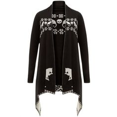 Jawbreaker Clothing Cat Skull Cardigan ❤ liked on Polyvore featuring tops, cardigans, cardigan top, waterfall cardigan, skull print cardigan, cat cardigan and cat print top