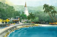 Kailua Village, an original California watercolor painting by Steve Santmyer. This painting is available as a fine art giclée print on premium watercolor paper. Watercolor Logo, Watercolor Paper, Watercolor Paintings, Kona Beaches, Oceanside Pier, Hawaiian Art, California Art, Beach Shack, Laguna Beach