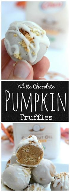 Pumpkin spice makes everything nice and these White Chocolate Pumpkin Truffles made with @Crisco refined coconut oil are just the think to get you into the deliciously sweet Fall spirit! #CriscoCoconutOil #IC #ad #pumpkin