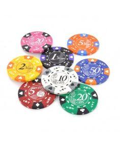 Clay composite pokerchips met waarde opdruk. Verkrijgbaar met waarden vanaf 5 cent t/m 20 Euro.