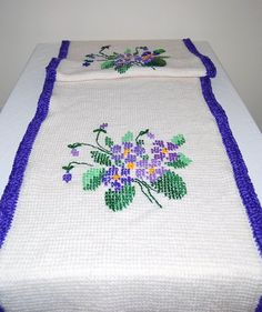Vintage Afghan Violets on Vanilla by CheekyVintageCloset on Etsy, $22.00