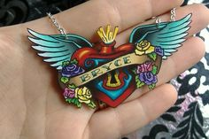 Old School Style Tattoo Necklace with Sacred Heart and Wings