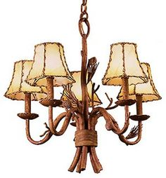 Kalco Ponderosa 5-Light Dinette Chandelier 5035PD/8045 in Ponderosa finish with Leather-wrapped shades.  Small Rustic Chandeliers - Brand Lighting Discount Lighting - Call Brand Lighting Sales 800-585-1285 to ask for your best price!