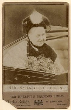 Queen Victoria smiling during her Golden Jubilee Procession, 21 June 1887.  The photo taken of the Queen during the procession in London was made into a popular postcard.