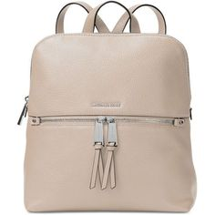 Michael Michael Kors Rhea Medium Slim Backpack featuring polyvore, womens fashion, bags, backpacks, cement, michael kors, dot backpack, travel bag, slim backpack and leather travel backpack