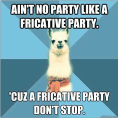 """Can vowels come too? [Picture: Background: 8-piece pie-style color split with alternating shades of blue. Foreground: Linguist Llama meme, a white llama facing forward, wearing a red scarf. Top text: """"Aint no party like a fricative party"""" Bottom text: """"Cuz a fricative party dont stop""""] submitter: My fiance (a non-linguist) came up with this joke in a dream! I was amazed."""