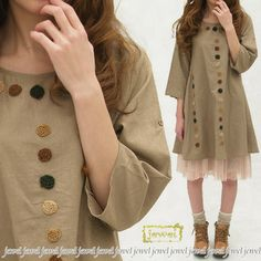 Cute forest girl fashion natural A line one piece dress ladies / linens / adult / jewel /jewel 02P28oct13