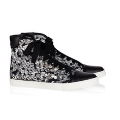 Lanvin Diamond Print Canvas and Leather Sneaker