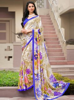 Beige Crepe Printed Saree With Blouse 85631