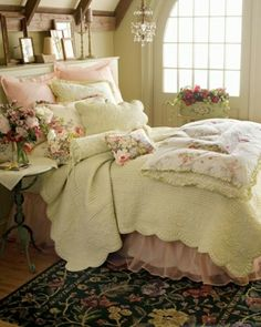 Shabby Chic, Romantic, pastel and pretty bedroom.