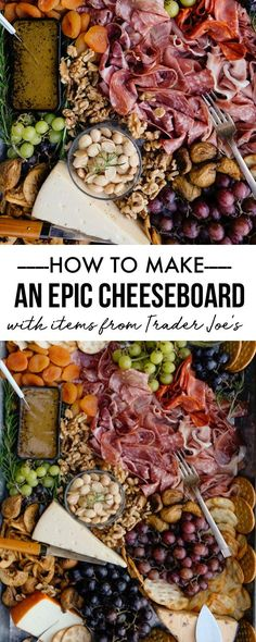 step by step instructions for how to make a seriously epic cheeseboard using trader joe's Items! perfect for a party or to bring with you to a potluck! Best Cheese, Meat And Cheese, Butter Cheese, Appetizers For Party, Appetizer Recipes, Girls Night Appetizers, Party Snacks, Dinner Recipes, Cheese Appetizers