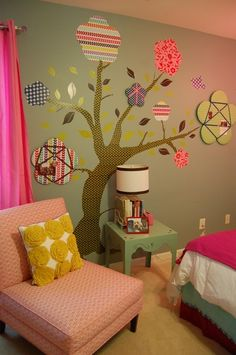 Love this tree...maybe painting it on would be better than stickers so youngsters won't pull it off the wall.