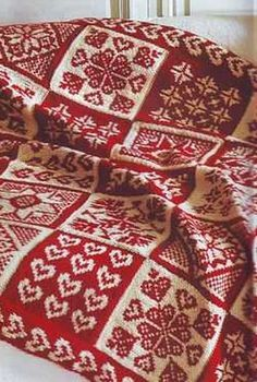 Red and white Scandinavian Afghan... i want this for winter time snuggles