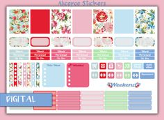 ✿ Vintage Paste Flowers Printable Erin Condren Life Planner Stickers ✿  This purchase includes 1 PNG file. Includes;  ✿ 7 filled pattern boxes