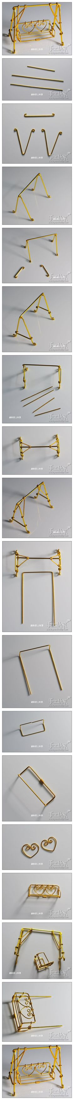 Visual DIY for miniature swinging seat for the dollhouse backyard