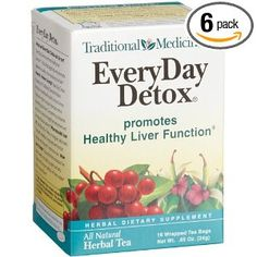 Traditional Medicinals Everyday Detox Herbal Tea, 16-Count Wrapped Tea Bags (Pack of 6)