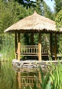 It really is tremendous what these folks did with this unique construction and plan. What a superb idea for a Large Gazebo, Wooden Gazebo, Garden Structures, Outdoor Structures, Landscape Design, Garden Design, Hot Tub Gazebo, Tiki Hut, Built In Bench