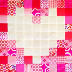 Valentine Projects We Love: Patchwork Heart Block Heart Quilt Pattern, Quilt Block Patterns, Quilt Blocks, Quilting Tutorials, Quilting Projects, Quilting Designs, Quilting Ideas, Quilting 101, Quilting Templates