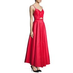 Laundry by Shelli Segal Taffeta Cutout Gown ($310) ❤ liked on Polyvore featuring dresses, gowns, apparel & accessories, circle skirt, red cut out dress, red gown, red ball gown and red sleeveless dress