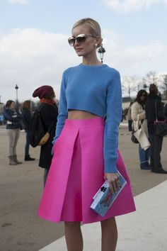 Pink Midi Skirt & Blue Crop Sweater