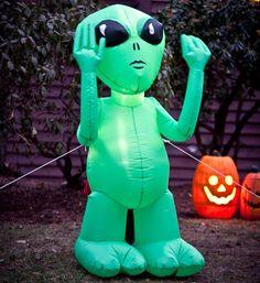 inflatable green alien