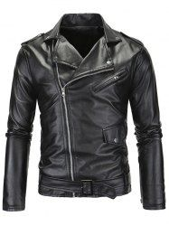 Fashionable Turn-Down Collar Zip-Up Long Sleeve Men's PU-Leather Jacket - BLACK 2XL Mobile