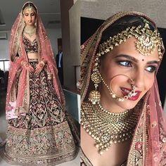Beautiful Bride hair wearing custom-made Big Fat Indian Wedding, Indian Wedding Outfits, Bridal Outfits, Indian Outfits, Bridal Dresses, Indian Weddings, Indian Bridal Lehenga, Indian Bridal Makeup, Indian Bridal Wear