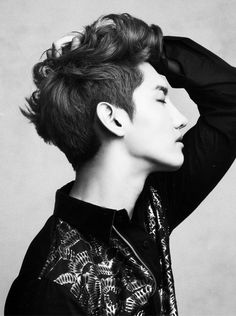 TVXQ Changmin - Strong Side Profile - Eyes closed tightly - Mouth slightly opened - Left hand grabbing the left side of his head