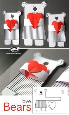 Love Bears - adorable and easy to make. Great classroom Valentines craft for pre. Love Bears – adorable and easy to make. Great classroom Valentines craft for preschoolers. Kids Crafts, Preschool Valentine Crafts, Craft Projects For Kids, Diy For Kids, Activities For Kids, Diy And Crafts, Paper Crafts, Kids Valentines, Homemade Valentines