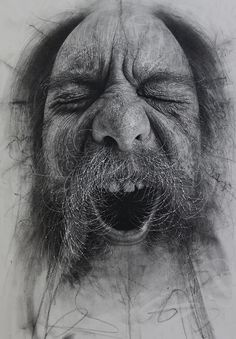 Douglas McDougall {contemporary figurative realism art male head man face b+w charcoal drawing #loveart} <3