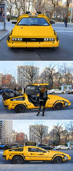 Awesome DeLorean taxi that can be seen in NYC. Would this take you back in time in NYC?
