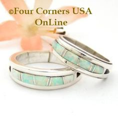 White Opal Inlay Band Rings