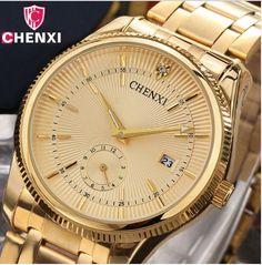 2017 chenxi gold watch men luxury business man watch Golden unique waterproof fashion casual men's watch quartz watch gift dress 069ipg