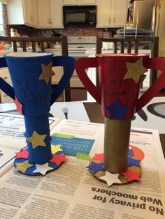 Made these cool Trophies for Father's Day! Thanks for the idea          http://www.busybeekidscrafts.com/Homemade-Trophy.html