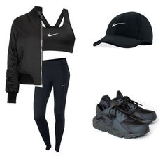 """All black Nike"" by m-franklin on Polyvore featuring NIKE and Topshop"