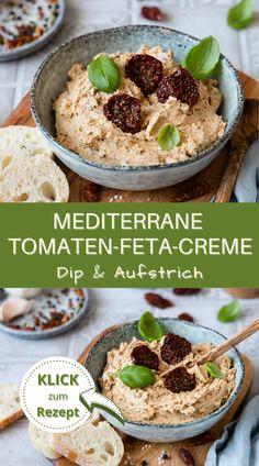 Mediterrane Tomaten-Feta-Creme. Ideal als Dip oder auch als Aufstrich. Diese leckere, italienisch angehauchte Creme ist außerdem super easy und schnell zubereitet und passt auf jedes Party-Buffet, zu jedem Grillfest oder auch zum Brunch. Eine tolle Abwechslung zum üblichen Brotbelag. #dip #aufstrich #tomate #feta #vegetarisch