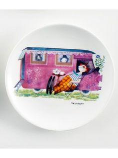 "By MIMI'S CIRCUS: Circus Tableware - 1 x plate ""Circus Trailer"" (ceramics)"