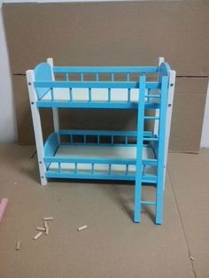 103.96$  Watch more here  - [wamami] 87# blue Wood Bed/Bunk Bed Frame Double-decker For 1/4&1/6 BJD MSD DOD Dollife